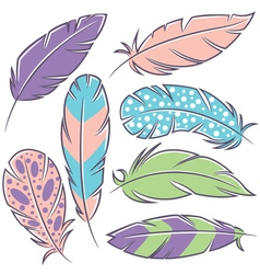 Feathers doodle set vector
