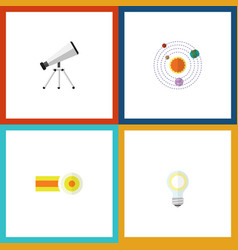 Flat icon study set of milky way lightbulb scope vector