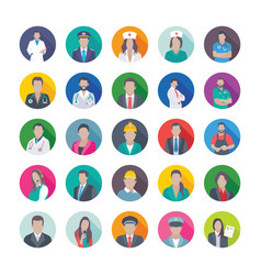 flat icons of professions vector image