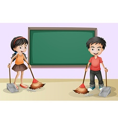 Kids cleaning near the empty board vector