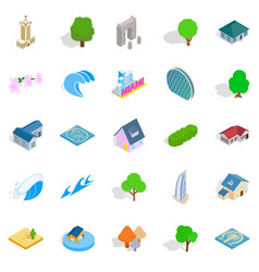 Landscape icons set isometric style vector