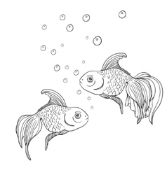 Line art fish contour vector