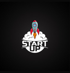 Logo space rocket ship vector