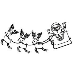 Monochrome contour with set of funny reindeers and vector