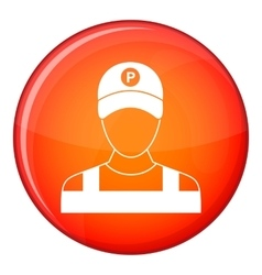 Parking attendant icon flat style vector