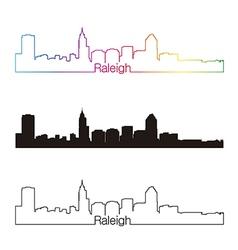 Raleigh skyline linear style with rainbow vector