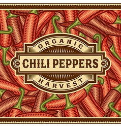 Retro Chili Pepper Harvest Label vector image vector image