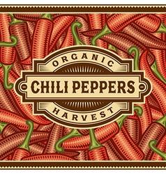 Retro chili pepper harvest label vector