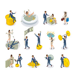 Rich people isometric icons vector