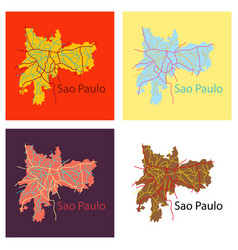 Set of sao paulo brazil flat map isolated on vector
