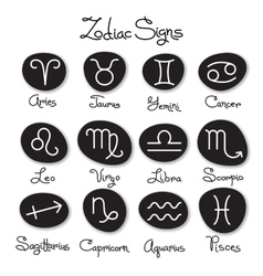 Set of simple zodiac signs with captions vector