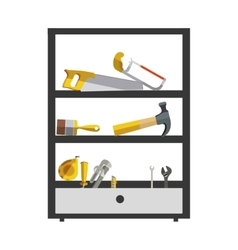 Silhouette color with high rack tools box vector