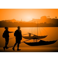 Silhouettes of tourists and docked boats on a vector