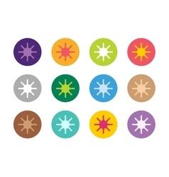 Sun burst star or snowflakes logo icon set vector