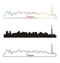 Tokyo V2 skyline linear style with rainbow vector image