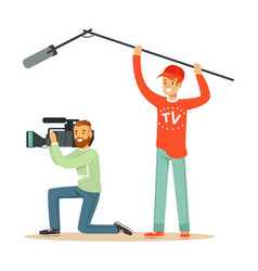 tv people at work recording news vector image vector image