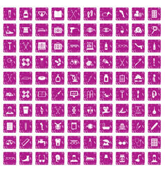 100 disabled healthcare icons set grunge pink vector