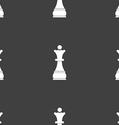 Chess queen sign seamless pattern on a gray vector