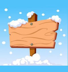 wooden sign in snow vector image