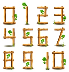 numbers set with wood concept vector image