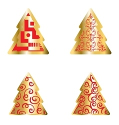 Gold and red christmas tree icon set vector