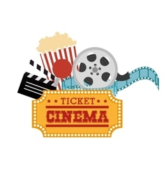 ticket cinema reel pop corn and clapper vector image
