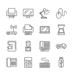 Office devices icons vector