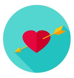 Arrow pierced heart circle icon vector