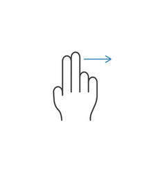2 finger swipe right line icon hand gestures vector