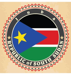 Vintage label cards of south sudan flag vector