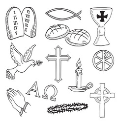 Christian hand-drawn symbols vector