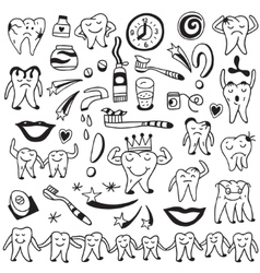 Hygiene  tooth doodles vector
