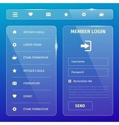 Transparent mobile user interface on blue vector