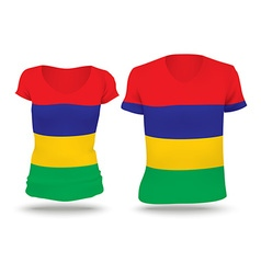 Flag shirt design of mauritius vector