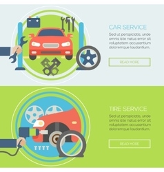 Car service flat icons concepts for web banners vector
