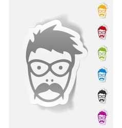 Realistic design element face male vector