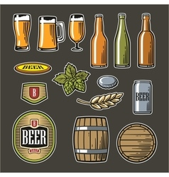 Beer - bottle glass barrel barle malt cover vector