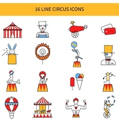 Circus line icons set vector