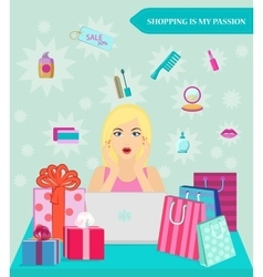 Online shopping girl she shocked by discounts vector