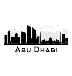 Abu Dhabi City skyline black and white silhouette vector image