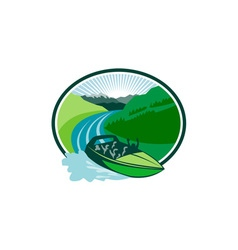 Jetboat river canyon mountain oval retro vector