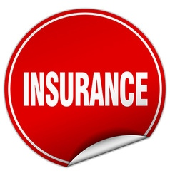 Insurance round red sticker isolated on white vector