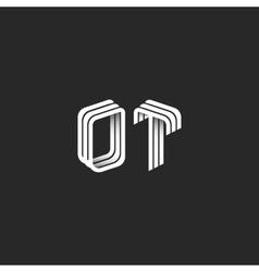 Monogram 3D initials OT logo isometric geometric vector image