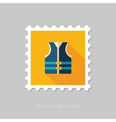 Life jacket flat stamp summer vacation vector