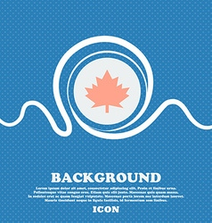 Maple leaf icon blue and white abstract background vector