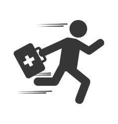 Paramedic man running medical kit vector