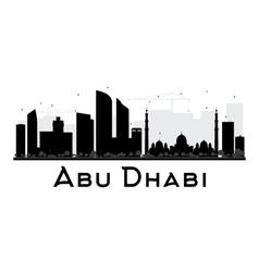 Abu Dhabi City skyline black and white silhouette vector image vector image