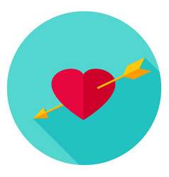 Arrow pierced heart circle icon vector