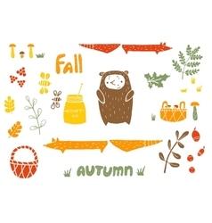 Autumn set in linocut style vector