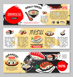 Banners for japanese seafood restaurant vector
